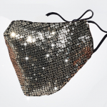Silver Sequin Custom Face Mask